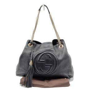 Gucci Soho on Chain Leather Black Shoulder Bag